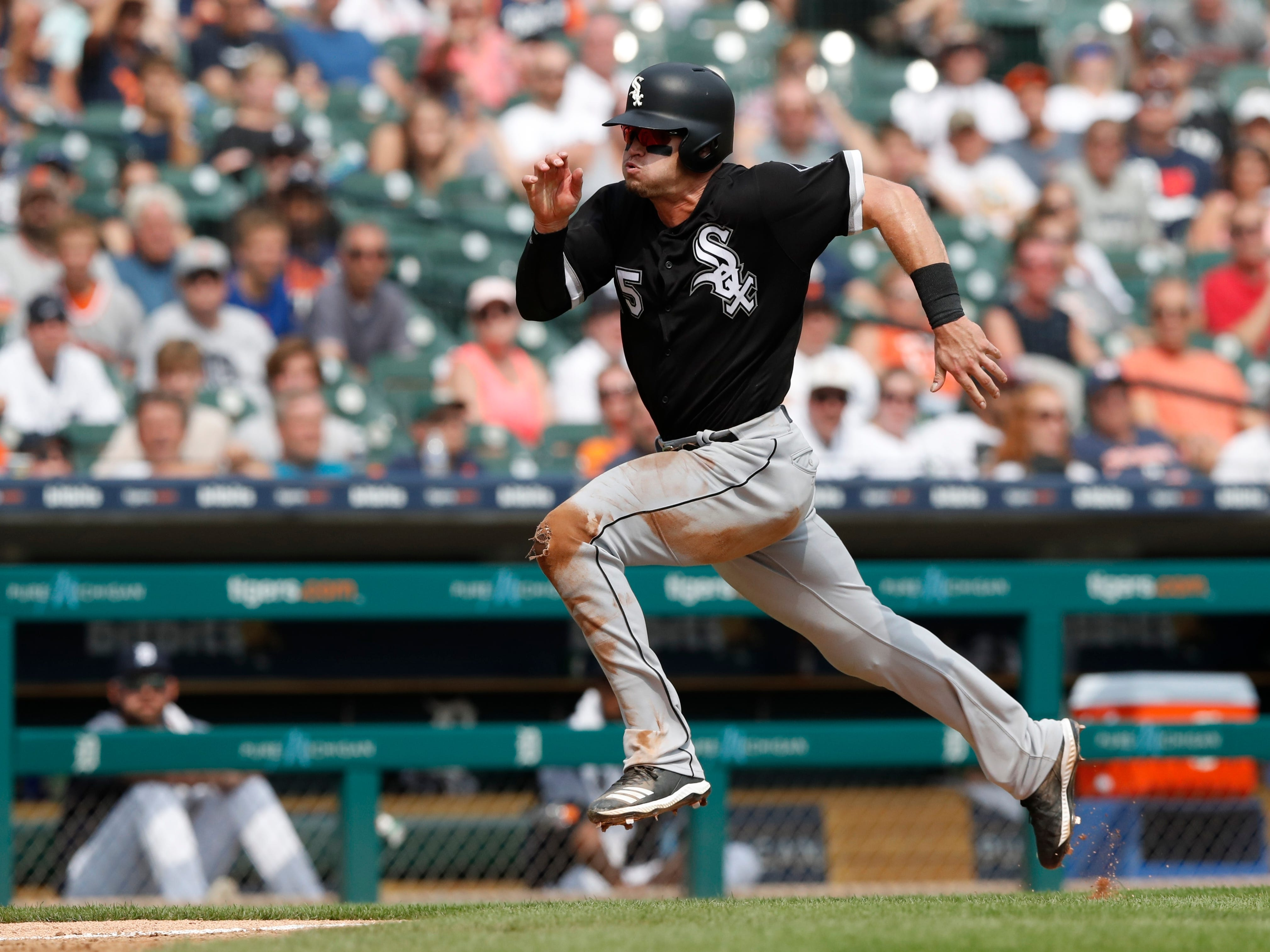 Chicago White Sox's Adam Engel runs towards home during the seventh inning.