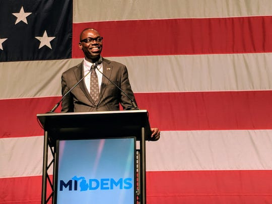 Garlin Gilchrist accepts the Michigan Democratic Party nomination for lieutenant governor.