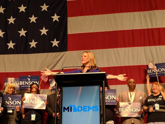Jocelyn Benson accepts Democratic nomination for Michigan Secretary of State.