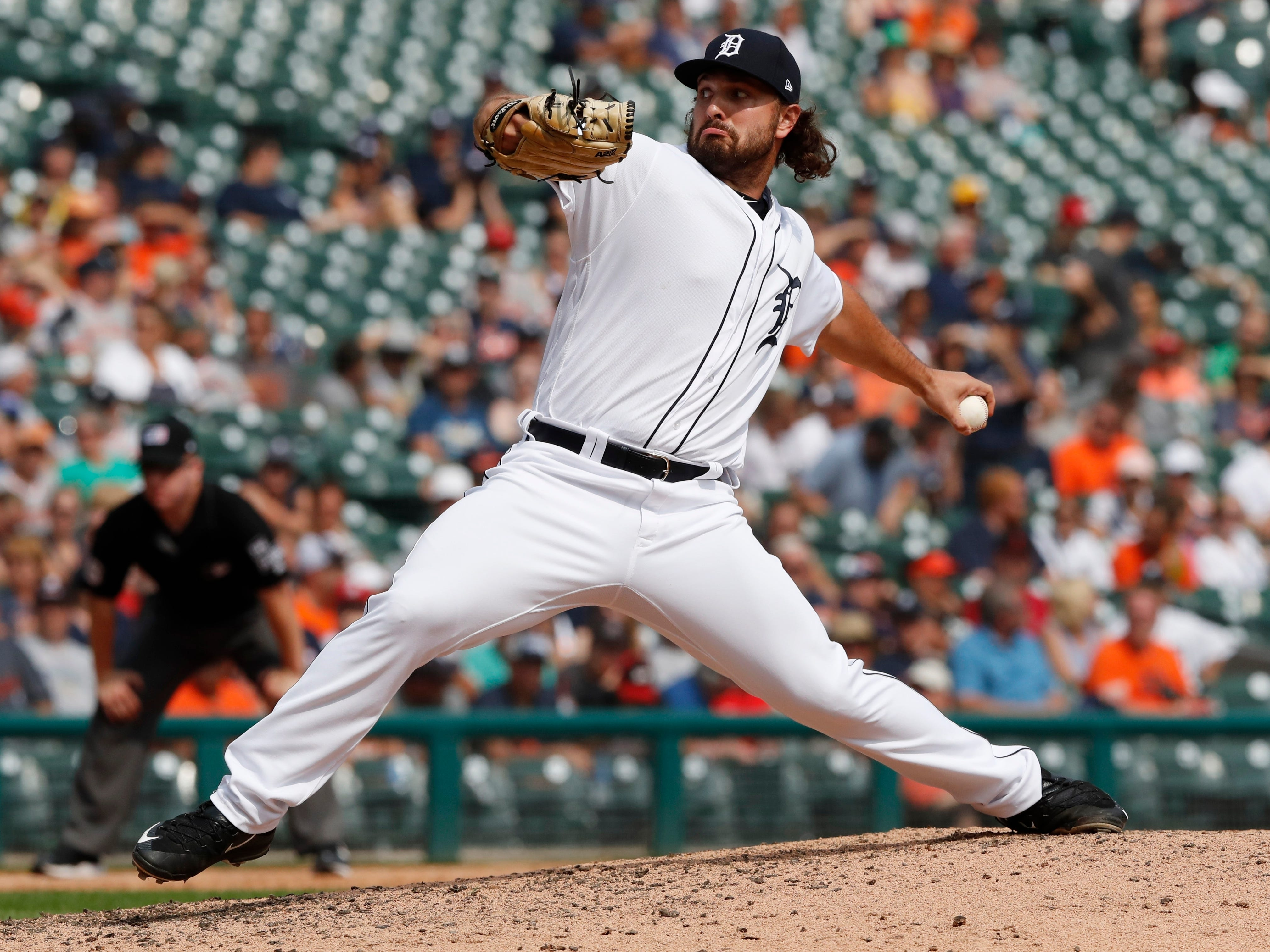 Detroit Tigers relief pitcher Josh Smoker throws during the seventh inning.
