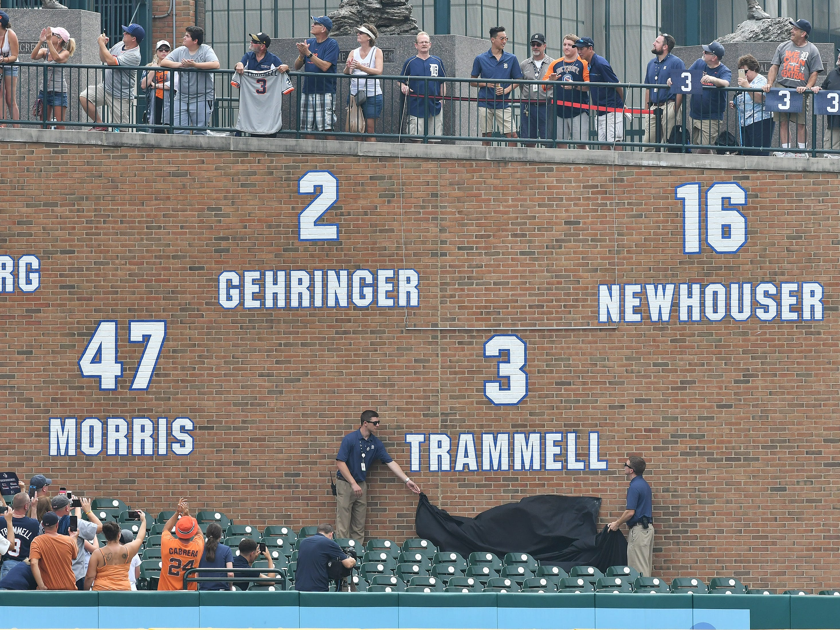 The No. 3 is unveiled during a special pregame ceremony to retire the number of former Tiger shortstop and Hall of Fame shortstop Alan Trammell.
