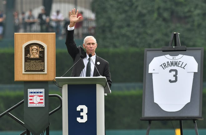 Alan Trammell waves to the crowd while he speaks during a special pregame ceremony to retire the No. 3 of former Detroit Tigers shortstop on Sunday at Comerica Park.