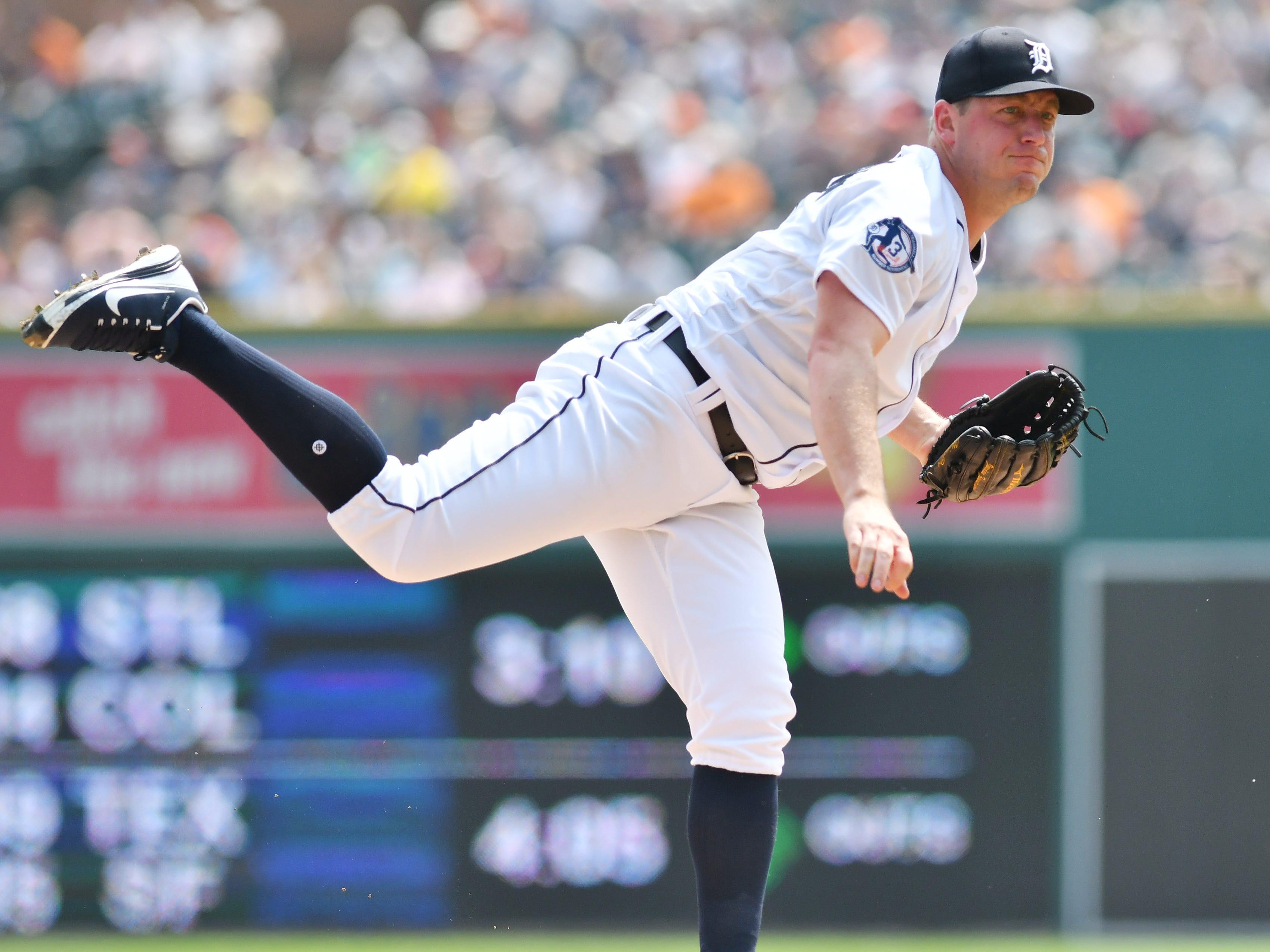 Tigers starting pitcher Jordan Zimmermann works in the third inning.