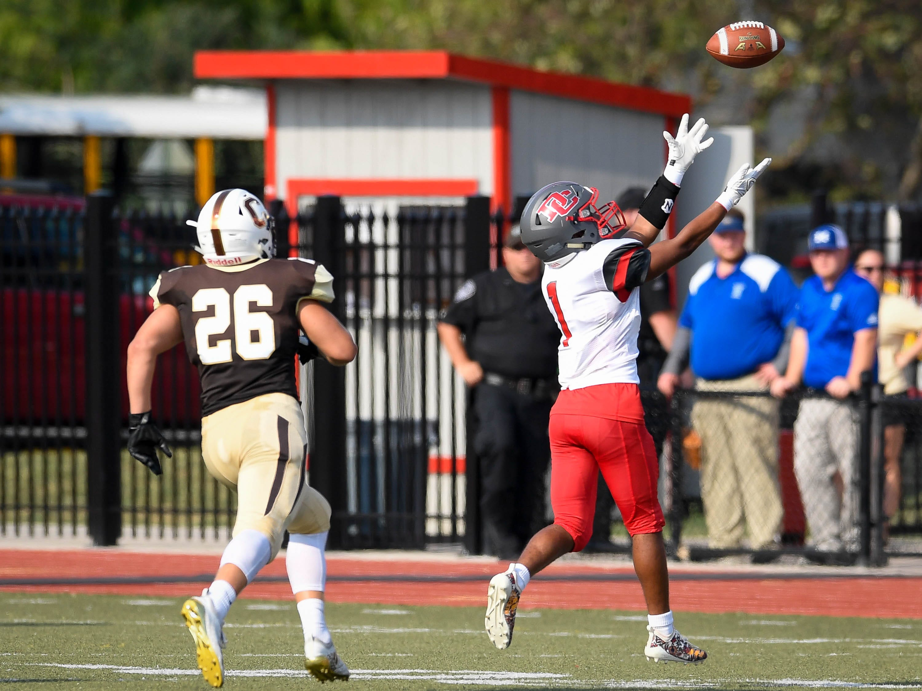 Daviess County's Jaquarius Fletcher (1) tries in vain to pull in a corner pass to the end zone as the Daviess County Panthers play the Evansville Central Bears at the Border Bowl played at Enlow Field in Evansville Saturday, August 25, 2018.