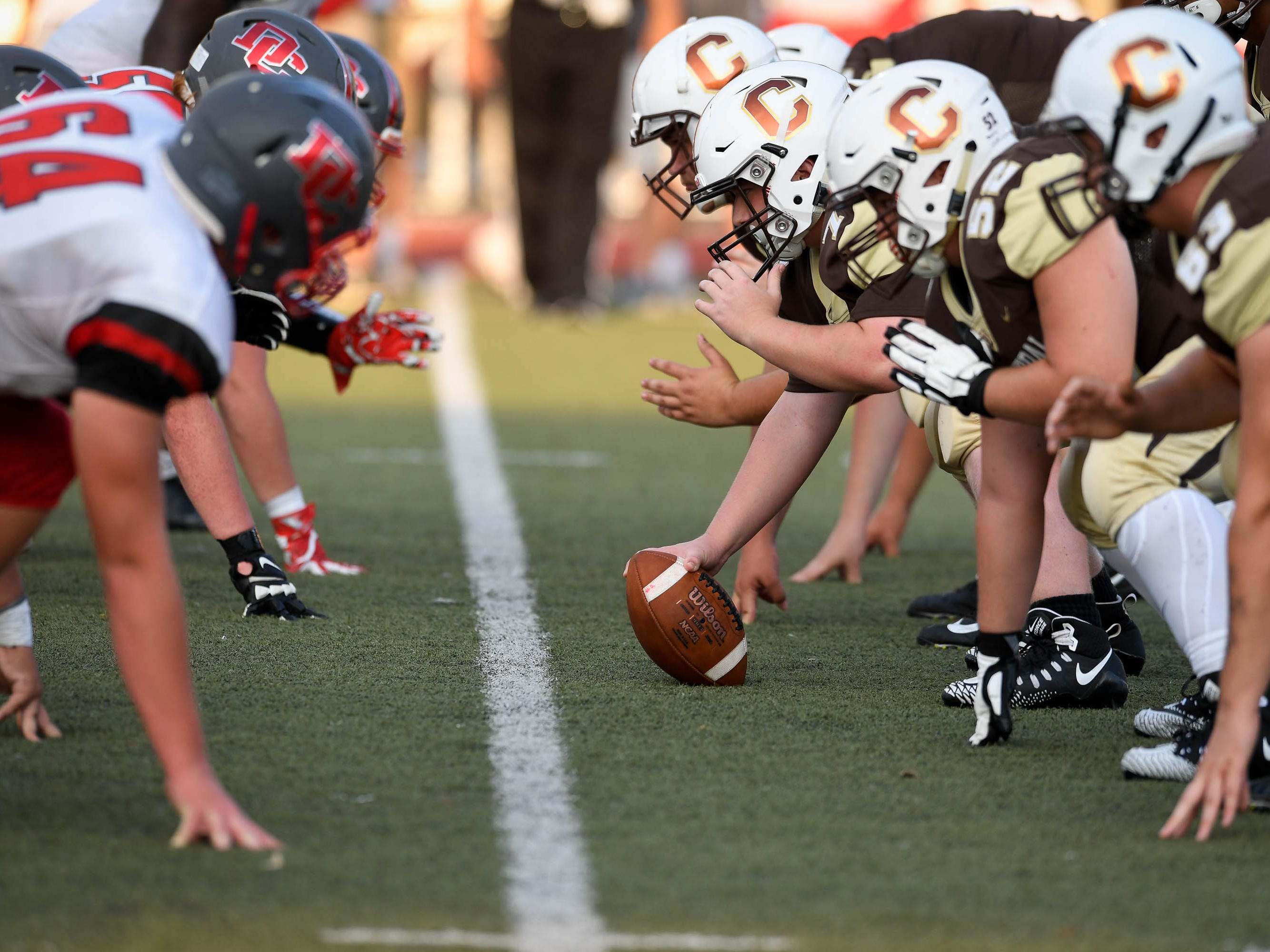 Central prepares to snap the ball as the Daviess County Panthers play the Evansville Central Bears at the Border Bowl played at Enlow Field in Evansville Saturday, August 25, 2018.