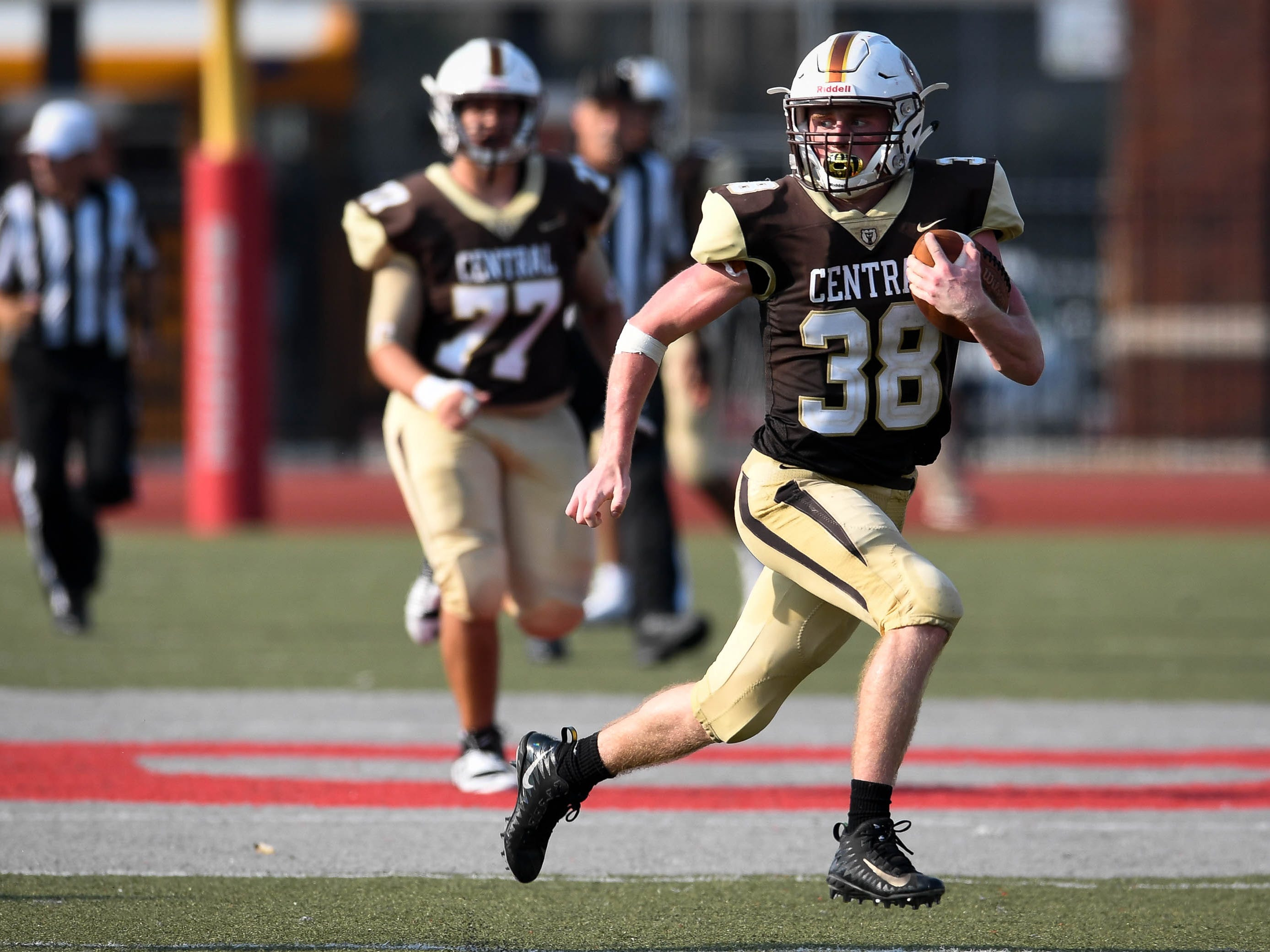 Central's Brennan Schutte (38) runs nearly the length of the field as the Daviess County Panthers play the Evansville Central Bears at the Border Bowl played at Enlow Field in Evansville Saturday, August 25, 2018.