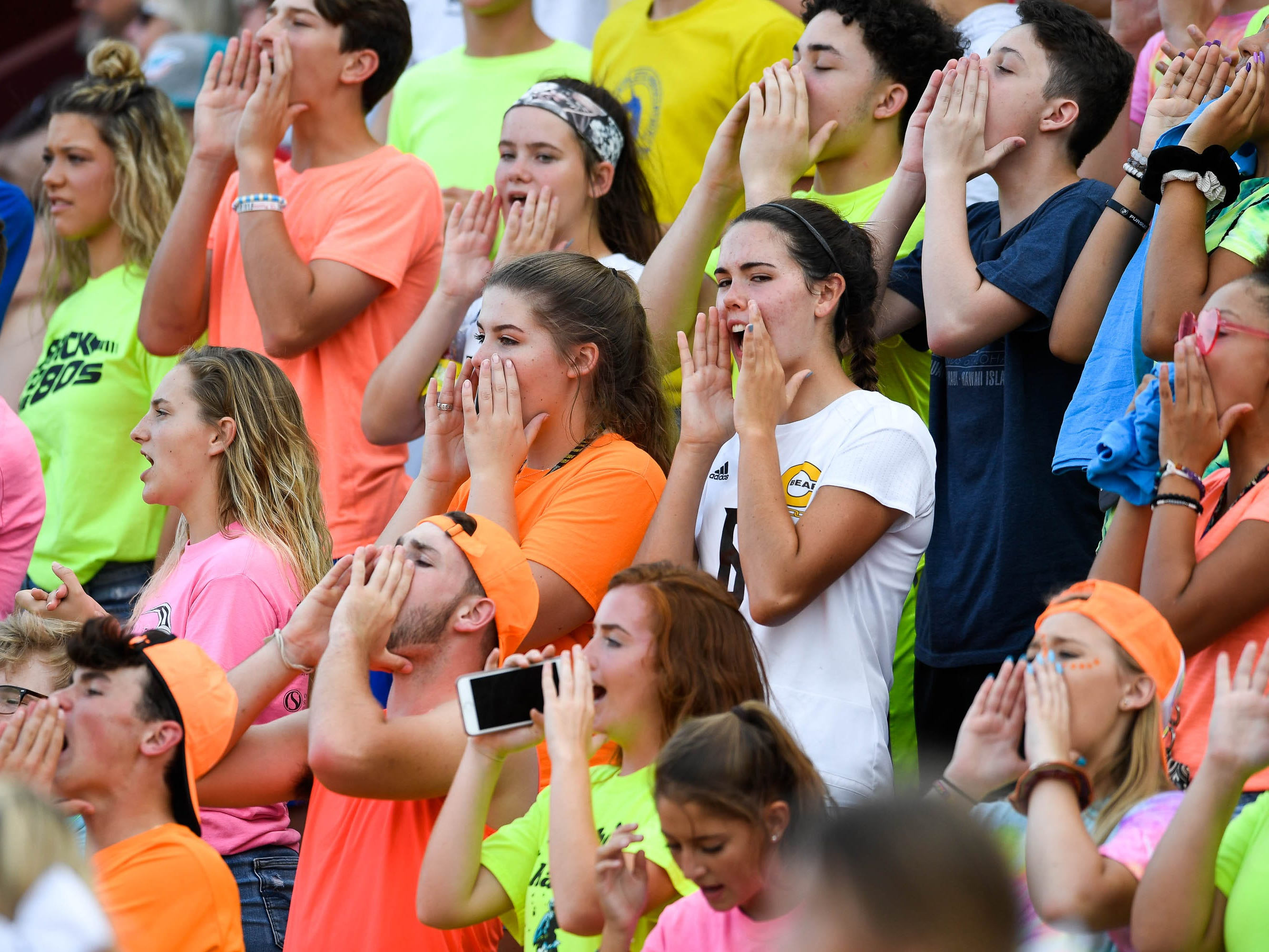 Central student section as the Daviess County Panthers play the Evansville Central Bears at the Border Bowl played at Enlow Field in Evansville Saturday, August 25, 2018.