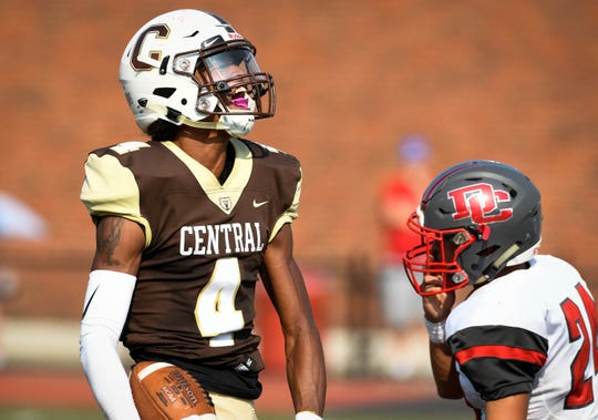 Central's Malcolm Depriest (4) celebrates a big gain as the Daviess County Panthers play the Evansville Central Bears at the Border Bowl played at Enlow Field in Evansville Saturday, August 25, 2018.