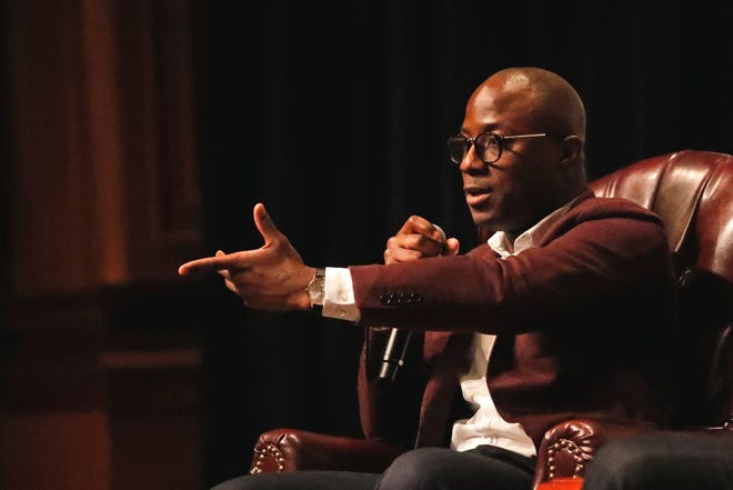 Oscar-winning Barry Jenkins, an FSU film school alum, answers questions during a sold-out show in 2017.