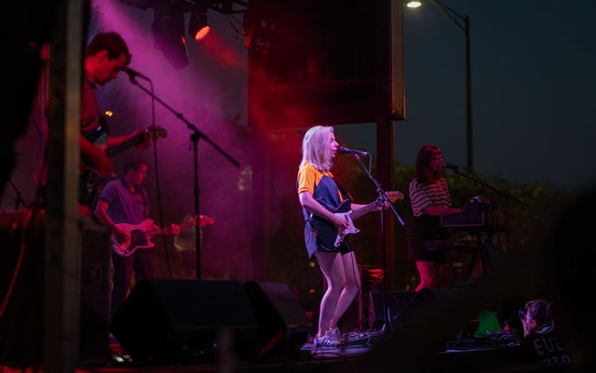 Frontwoman Molly Rankin performing  with Alvvays outside Doak Campbell Stadium.