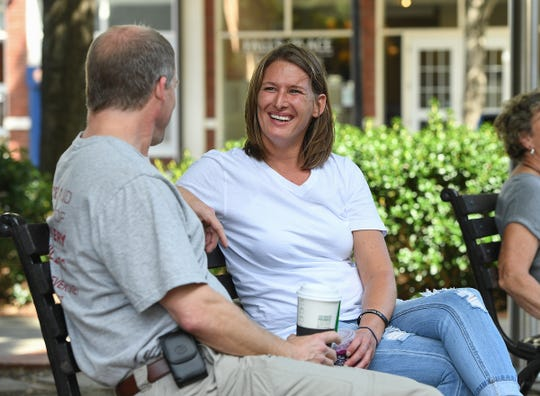Jennifer Seymour met her recovery coach, Hubert Yarborough, when she woke up in the hospital after a near-fatal overdose. The two often meet to talk as part of Seymour's recovery process.