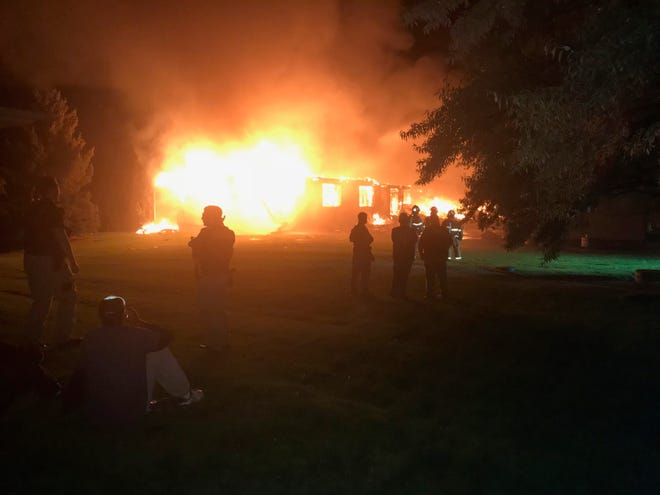 An elderly couple escaped serious injury after an explosion and fire destroyed their home on Willowdale Lane southwest of Great Falls.