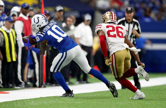 Indianapolis Colts wide receiver Daurice Fountain makes a catch in front of San Francisco 49ers cornerback Greg Mabin in a preseason game last August.