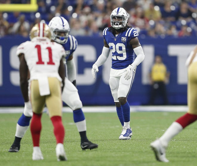 Indianapolis Colts defensive back Malik Hooker (29) in the first half of their preseason football game at Lucas Oil Stadium Saturday, August 25, 2018.