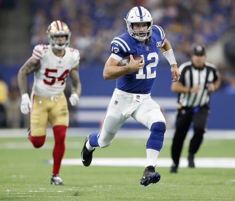 Indianapolis Colts quarterback Andrew Luck (12) runs straight away in the first half of his preseason football game at the Lucas Oil Stadium Saturday, August 25, 2018.