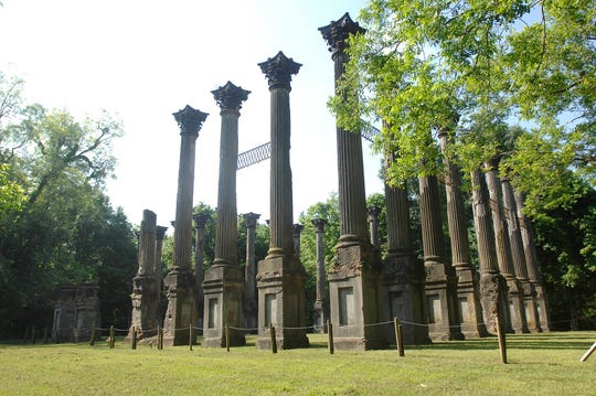 Completed in 1861, the Windsor mansion survived the Civil War only to burn in 1890.  Now only the columns remain.
