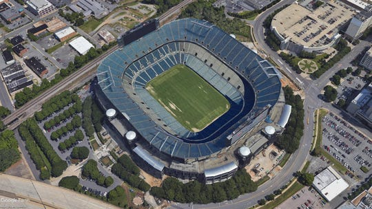 Bank of America Stadium in Charlotte, North Carolina. (Google Earth view)