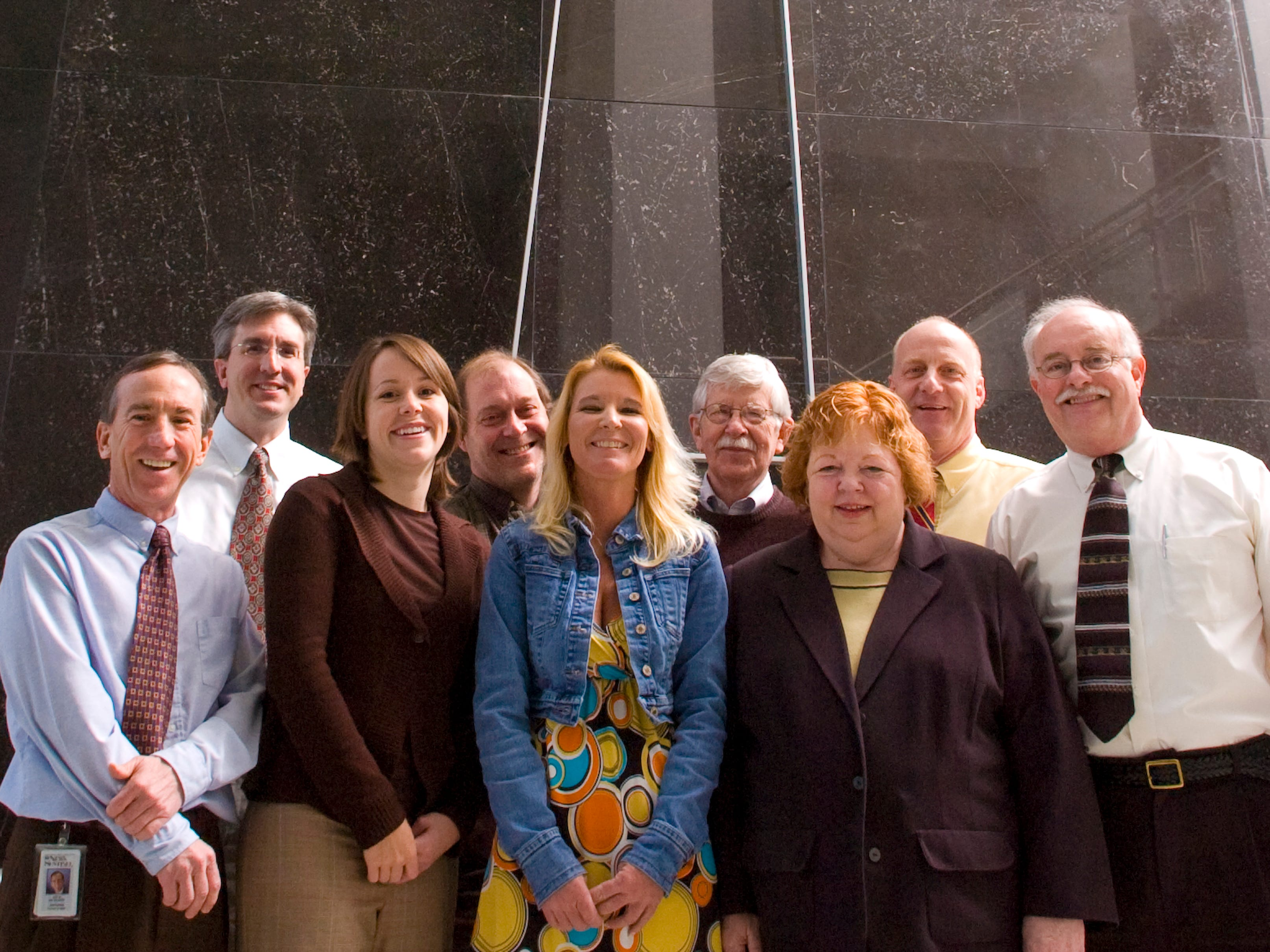 Members of the Knoxville News Sentinel, winners of the Scripps Howard Foundation National Journalism Awards competition are pictured March 10, 2008. L to R FRONT ROW: Jack McElroy, Editor; Ansley Haman, Reporter; Jamie Satterfield, Reporter; Rebecca Ferrar, Reporter, Hoyt Canady, Editorial Page Editor. BACK ROW: David Keim, AME News; Scott Barker, Reporter; Charlie Daniel, Editorial Cartoonist; Bruce Hartmann, Publisher.