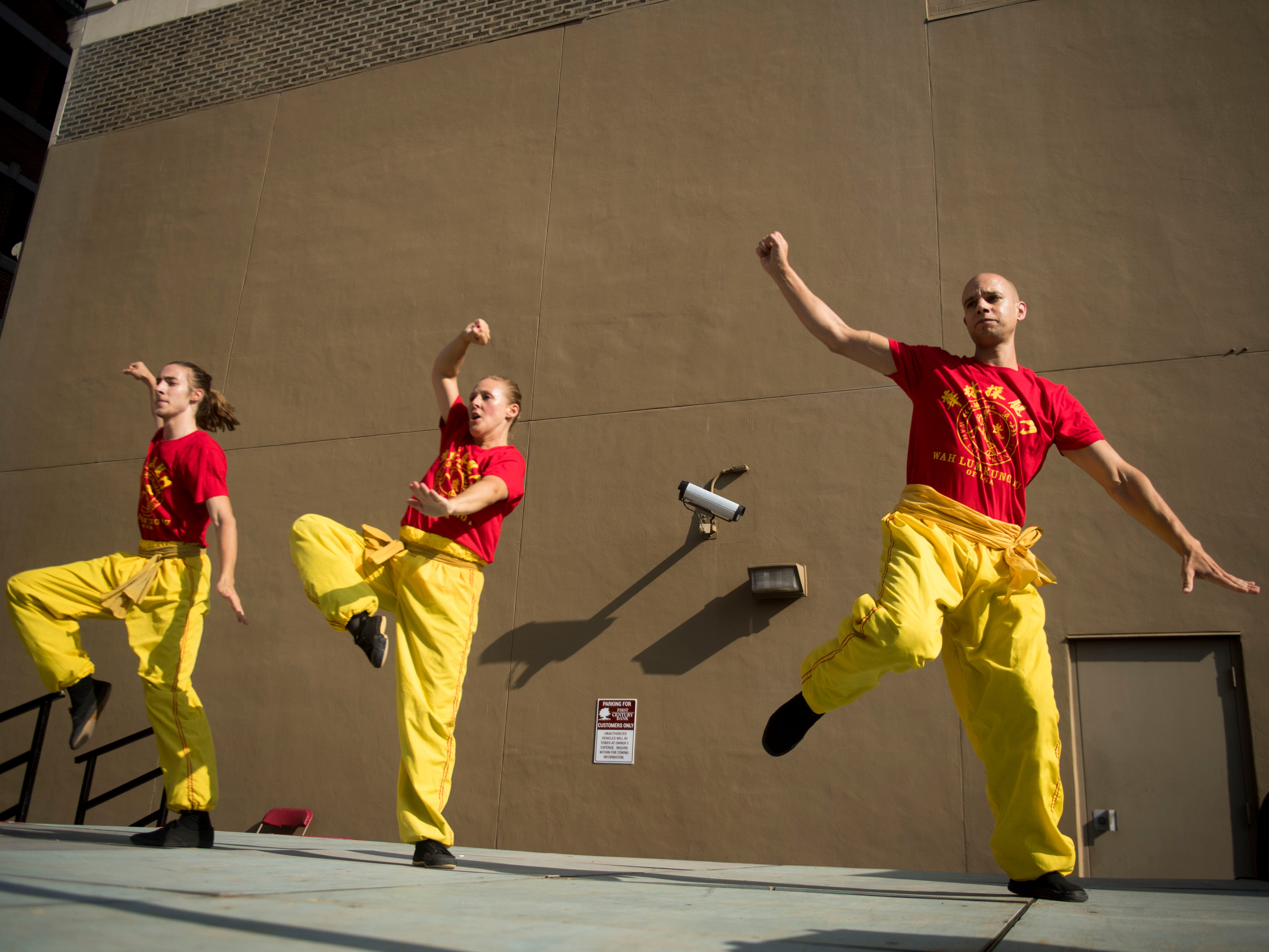 Wah Lum kung fu students demonstrate their skills during Knox Asian Festival on Sunday, August 26, 2018.