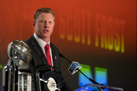 Jul 23, 2018; Chicago, IL, USA; Nebraska head coach Scott Frost addresses the media during the Big Ten football media day at Chicago Marriott Downtown Magnificent Mile. Mandatory Credit: Patrick Gorski-USA TODAY Sports