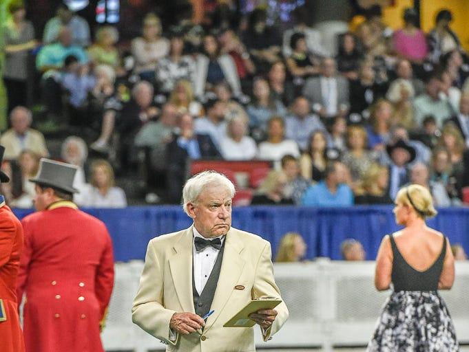 Judge John Jones in center ring at The World's Championship Horse Show