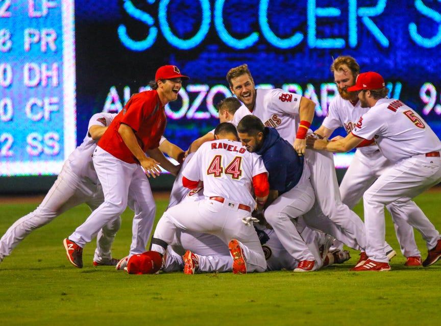 Memphis Redbirds celebrate American Southern Division title.
