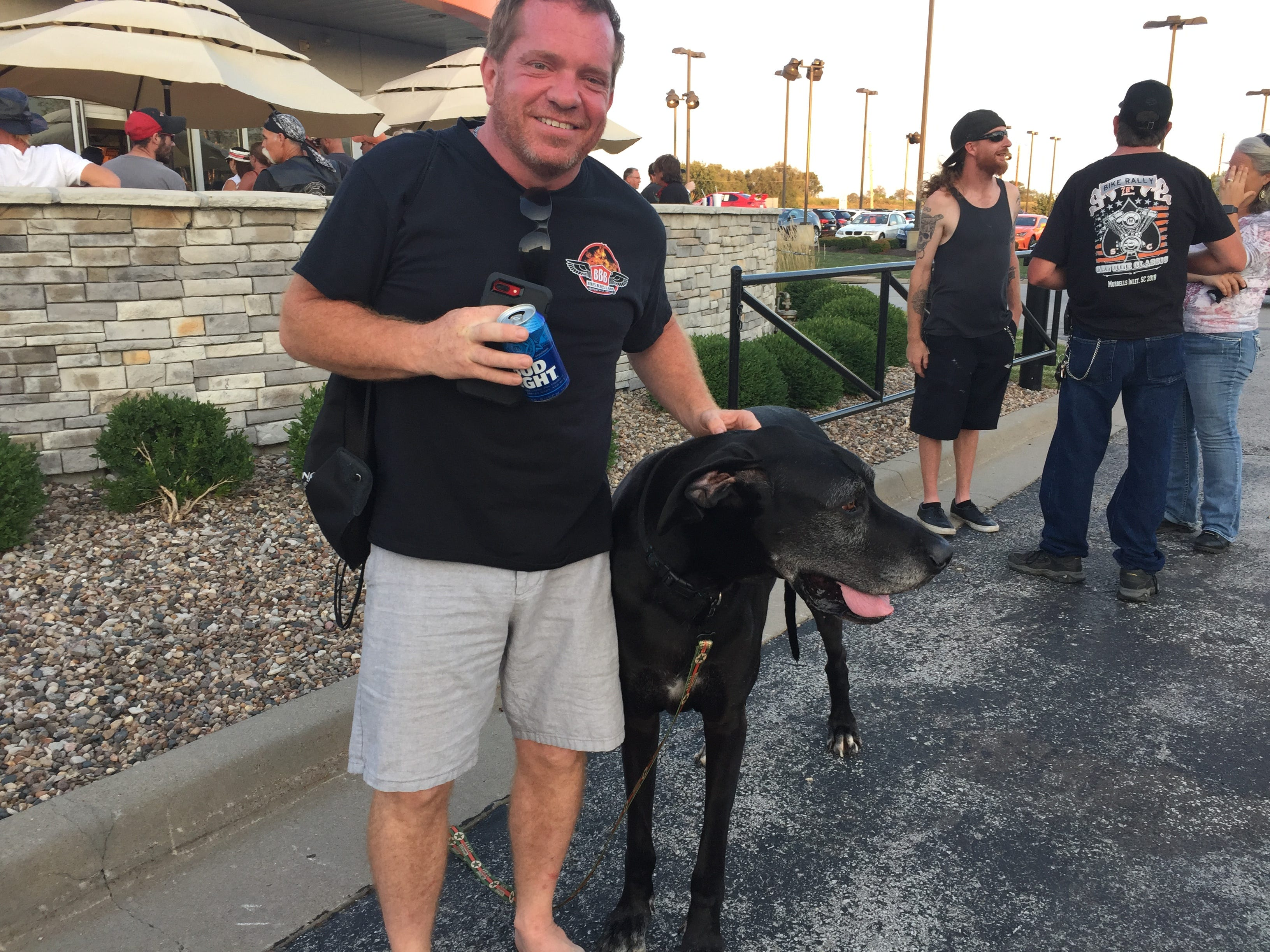 Gus, a 9-year-old Great Dane, was the only dog spotted at the Worth Harley-Davidson dealership party Aug. 25 in Kansas City. Gus' companion is Michael McGilton.