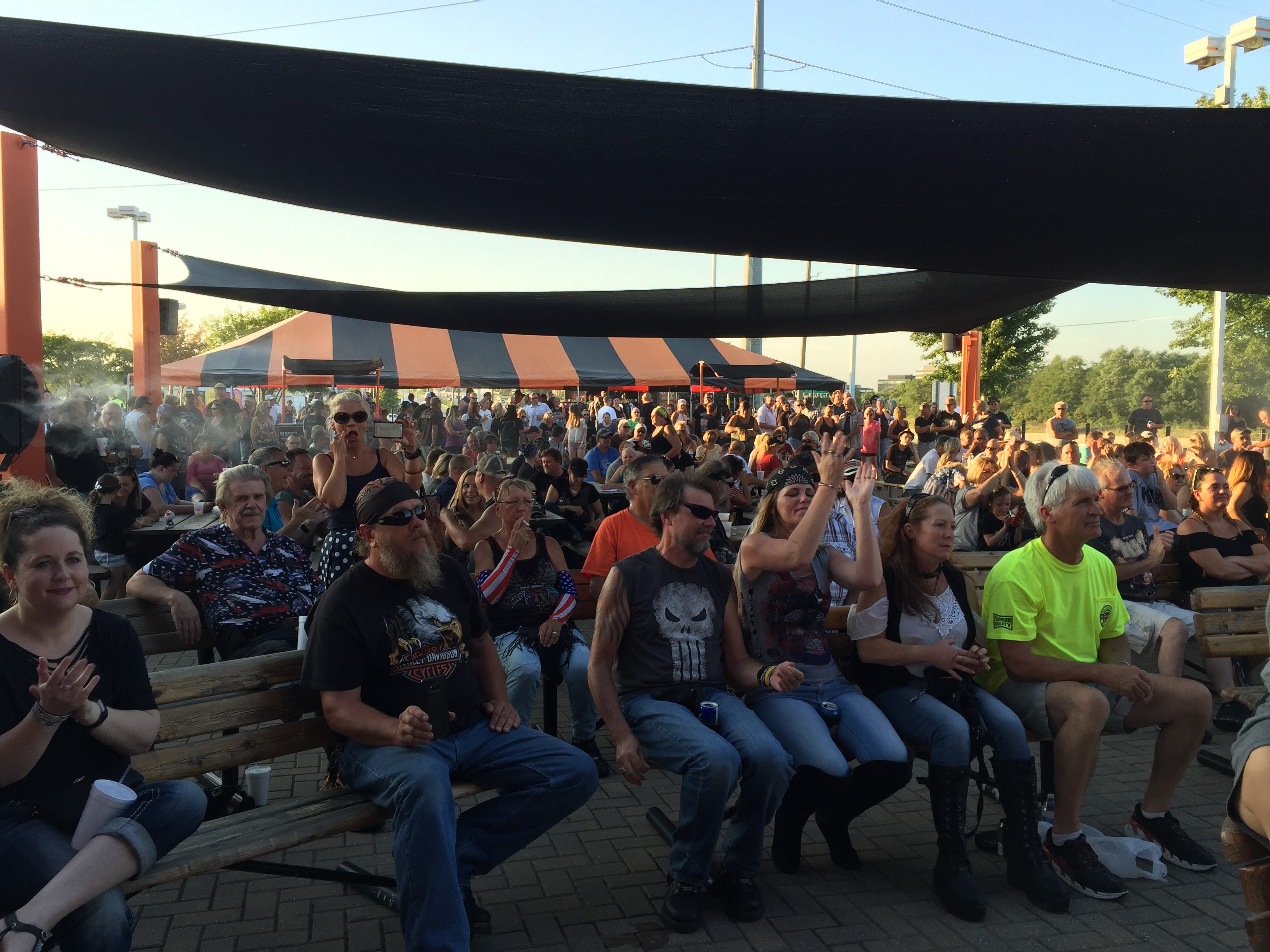 About 400 people turned out for live music and beer, to check out new bike models and to meet Harley-Davidson executives such as Karen Davidson and Bill Davidson.