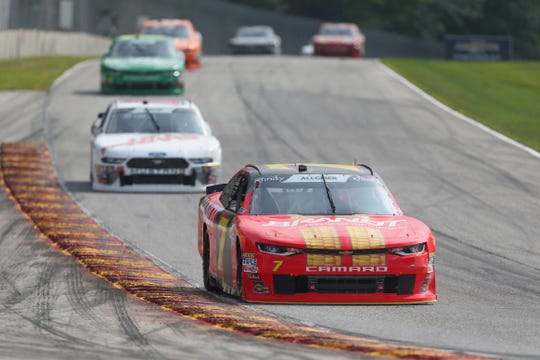 Justin Allgaier leads the field into Turn 5 at Road America during the 2018 Johnsonville 180 he eventually won.