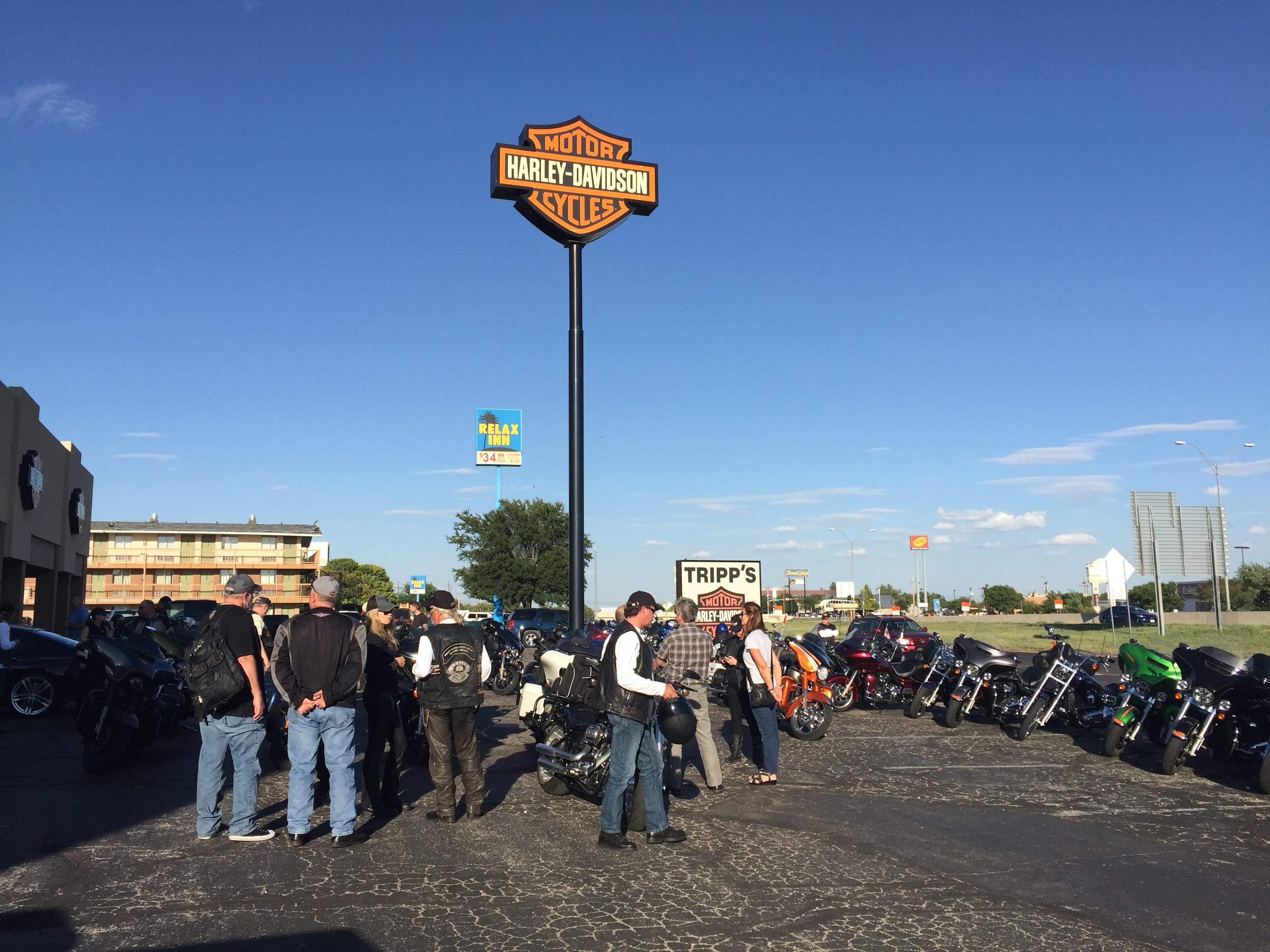 Each leg of the trip includes a visit to at least one dealership, where Harley-Davidson executives including Karen Davidson, Bill Davidson, John Olin and Heather Malenshek, meet with dealership owners and customers. Here, they met with people at the Duke City Harley-Davidson in Albuquerque, N.M., on day 3 of the 9-day ride.