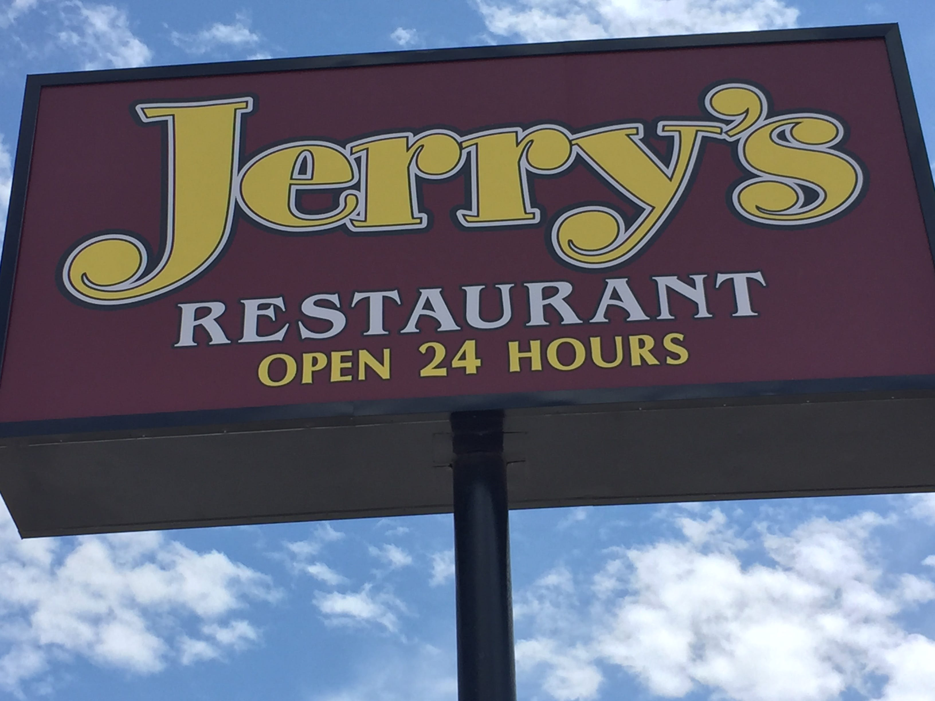 Where Harley riders eat, Day 3 (lunch stop in Weatherford, Okla.): Jerry's Restaurant, a diner with a big counter and booths and tables.  - Breakfast served all day.