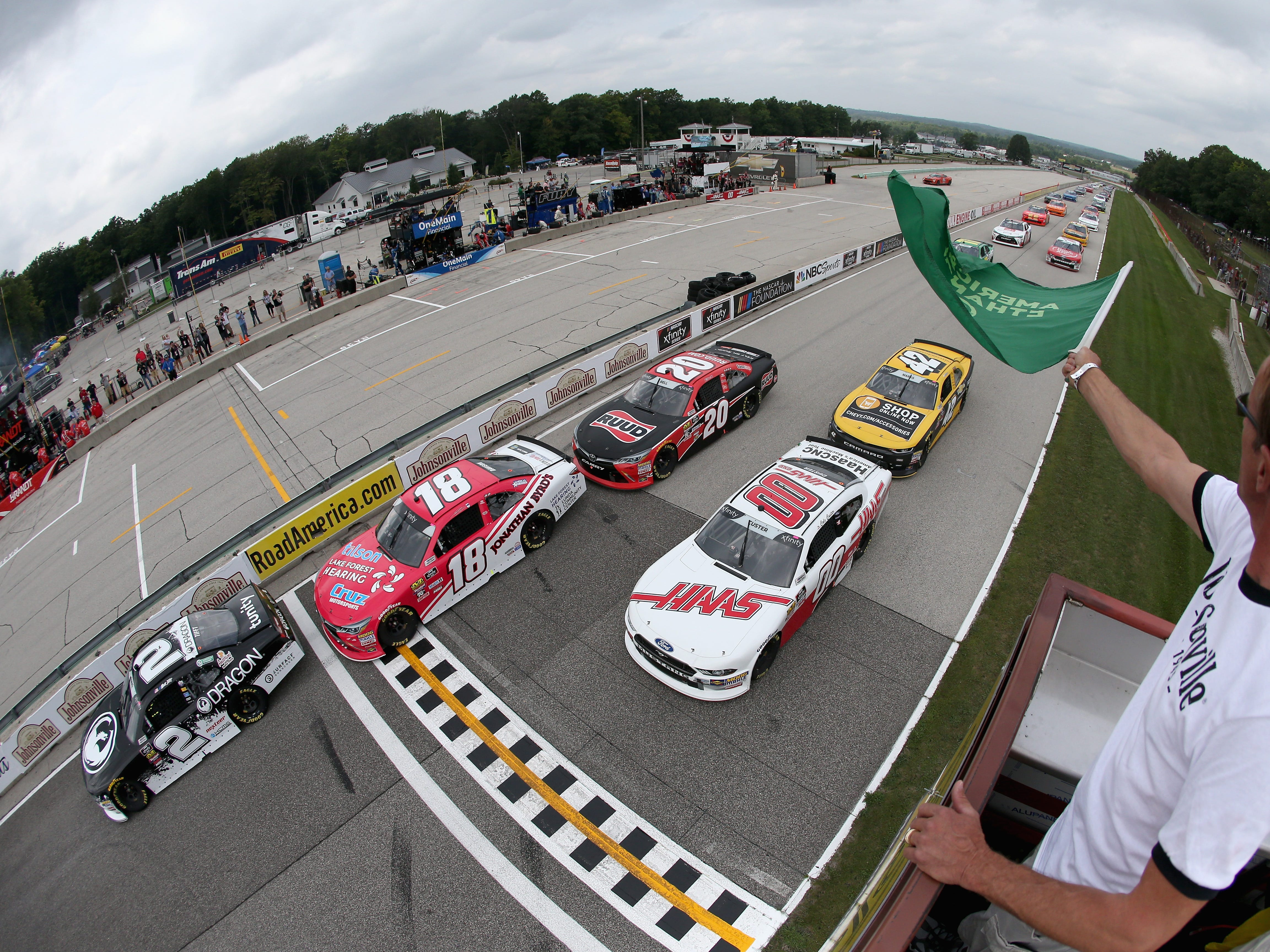 Matt Tifft  (2) leads the field as the green flag waves to start the Johnsonville 180 on Saturday at Road America.