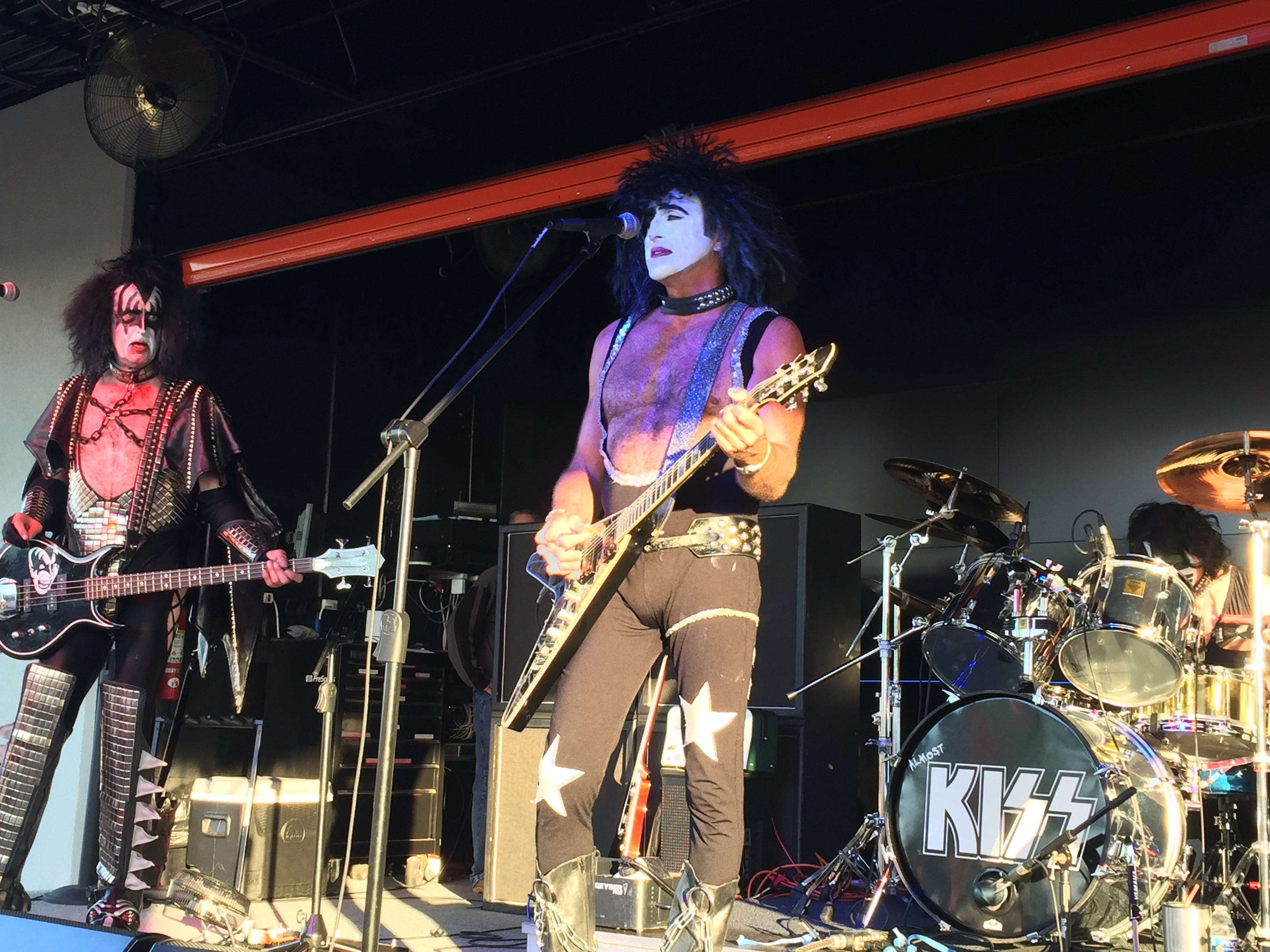 A KISS cover band played to a mostly sit-down crowd at the Worth Harley-Davidson dealership party Aug. 25. About 400 people turned out for live music and beer, to check out new bike models and to meet Harley-Davidson executives such as Karen Davidson and Bill Davidson.