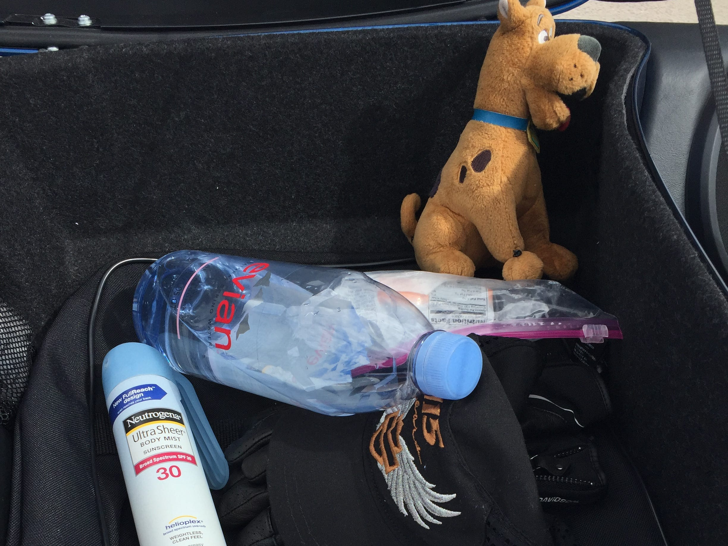 Along with water, sunscreen and a phone charger, Heather Malenshek, vice president of marketing for Harley-Davidson, keeps a Scooby-Doo stuffed animal in the touring pack of her bike. Her godson gave it to her as a good luck charm.