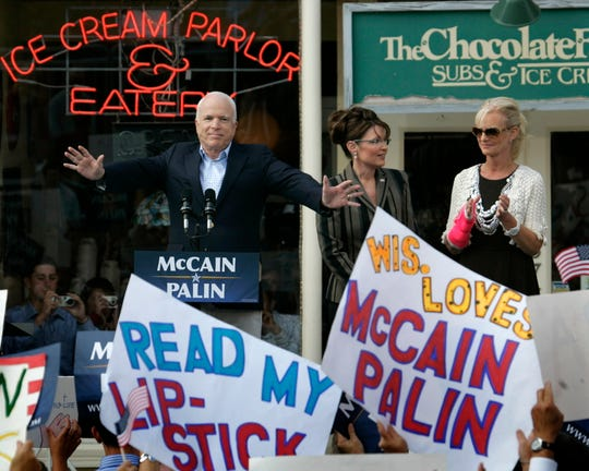 Republican candidate for President John McCain and vice presidential candidate Sarah Palin (center) address a large political rally in Cedarburg in September 2008, the morning after McCain addressed the Republican National Convention in St. Paul, Minnesota.  JOURNAL SENTINEL FILES