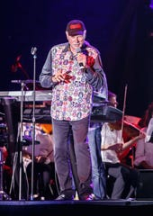 Mike Love leads The Beach Boys through a performance with The Southwestern Suburban Symphony at the Milwaukee County Sports Complex in Franklin on Saturday, August 25, 2018.