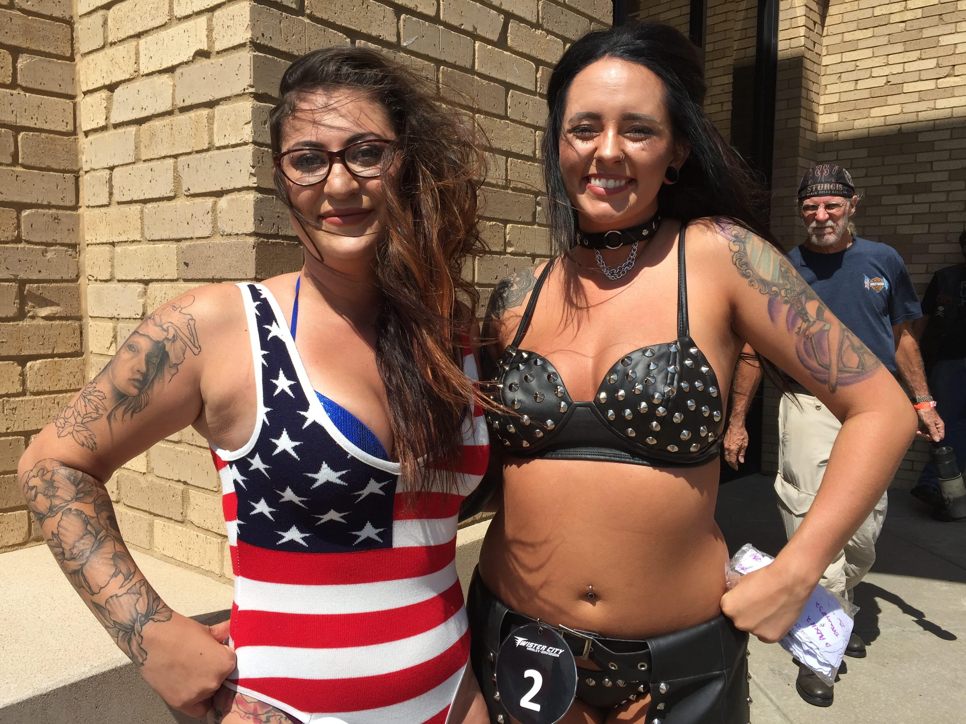 Women were competing to be chosen for the Twister City Harley-Davidson annual calendar. Customers could vote.