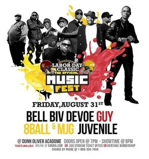 Bell Biv Devoe, Guy, 8Ball and MJG and Juvenvile are scheduled to perform Friday night at Alabama State University's Dunn-Oliver Acadome beginning at 8 p.m. Doors open at 7.