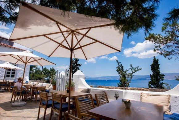 Overlooking the Mediterranean at Techne Restaurant.