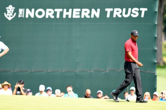 Tiger Woods walks onto the green of the 12th hole during the final round of the PGA Northern Trust in Paramus, NJ on Sunday, August 26, 2018.