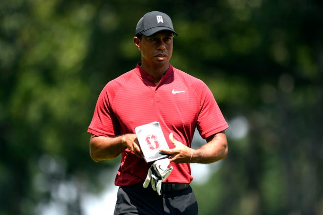 Tiger Woods walks off the tenth hole during the final round of the PGA Northern Trust in Paramus, NJ on Sunday, August 26, 2018.
