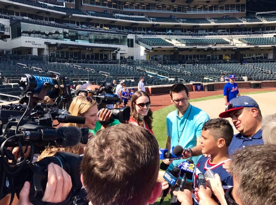 Staten Island Little League manager Joe Calabrese and players answer questions at Citi Field before the Mets game on Sunday, August 26, 2018.
