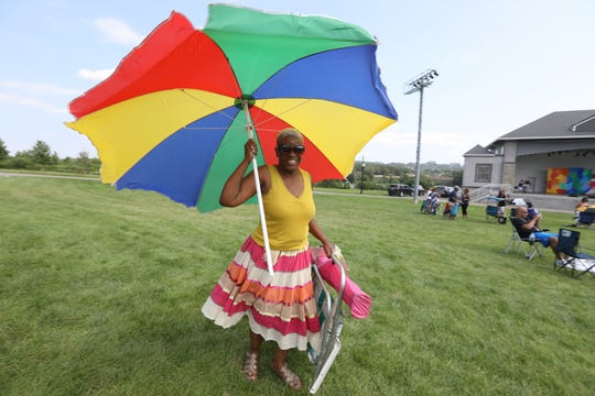 Wanda Pilgrim, of Hackensack is ready for the Bergen Music Festival at Overpeck County Park in Ridgefield Park, Sunday, August 26, 2018.