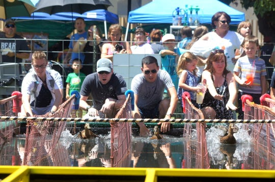 Wet track racing is the popular mode of competition at the Great American Duck Race in Deming. Wet track racing is favored 2 to 1 over the traditional dry track.