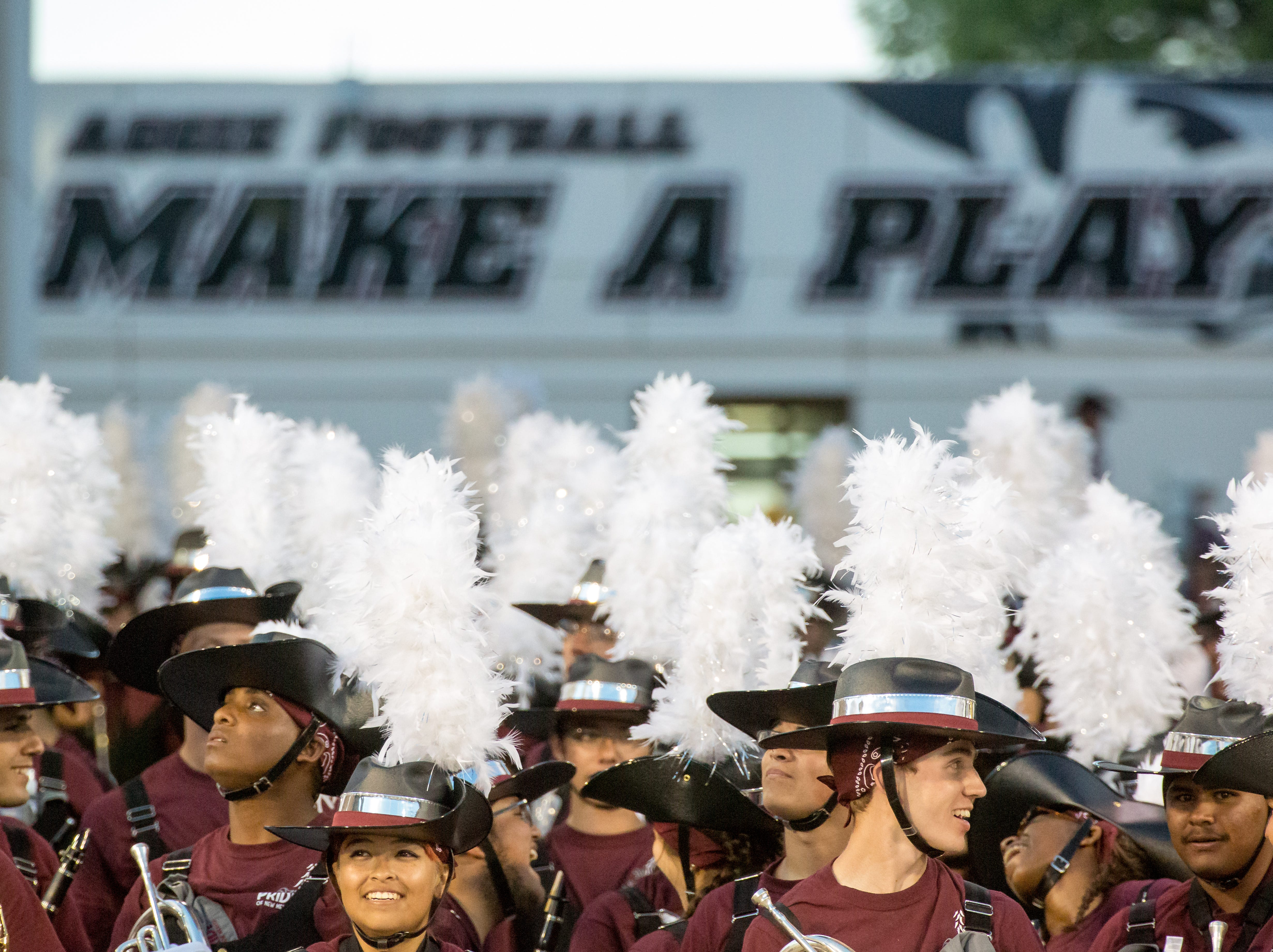The NMSU band prepares to take the field on Saturday, August 25, 2018, during the NMSU/Wyoming game at the Aggie Memorial Stadium.