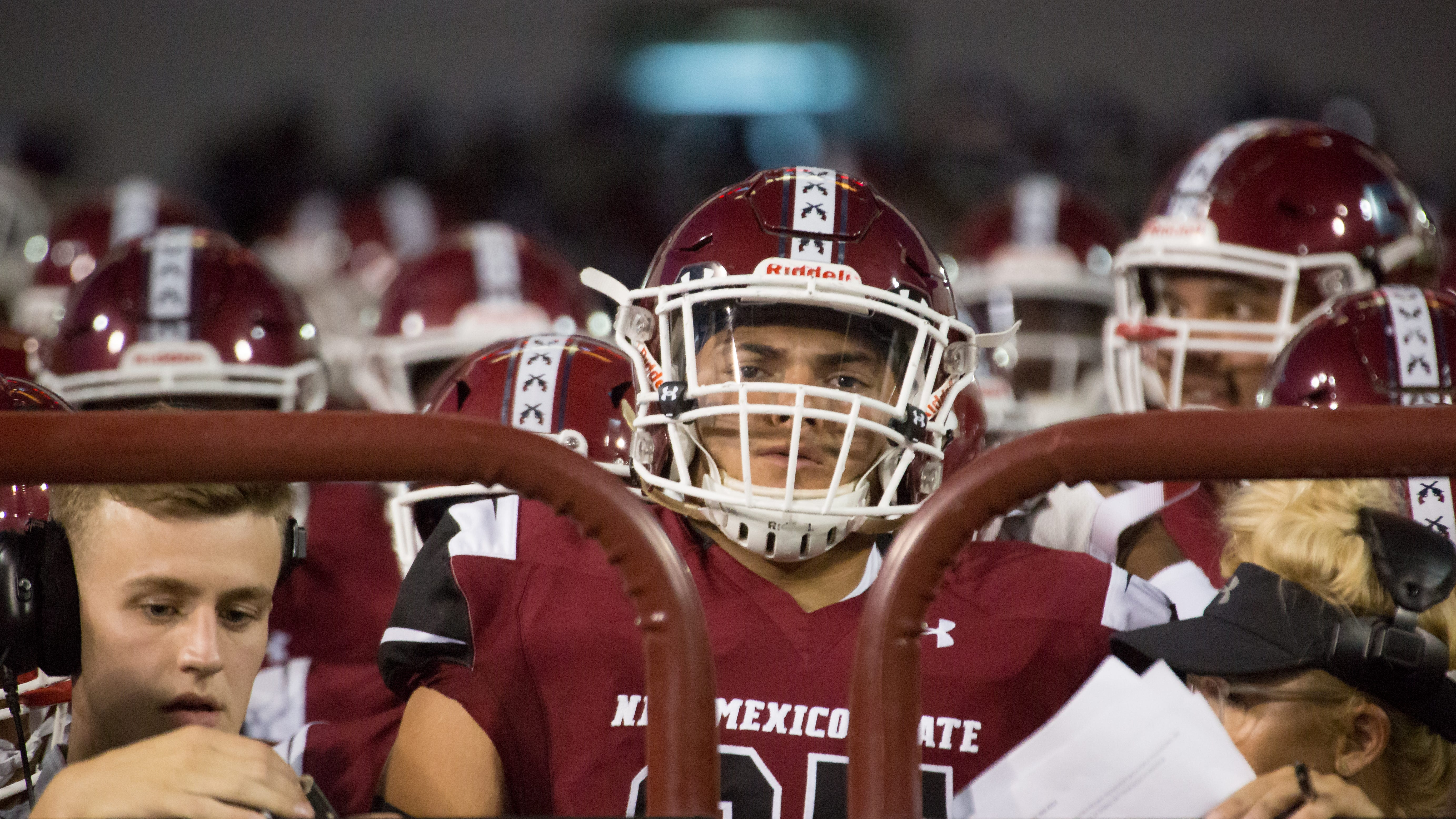 NMSU's Miguel Provencio prepares to take on Wyoming on Saturday, August 25, 2018, during the NMSU/Wyoming game at the Aggie Memorial Stadium.
