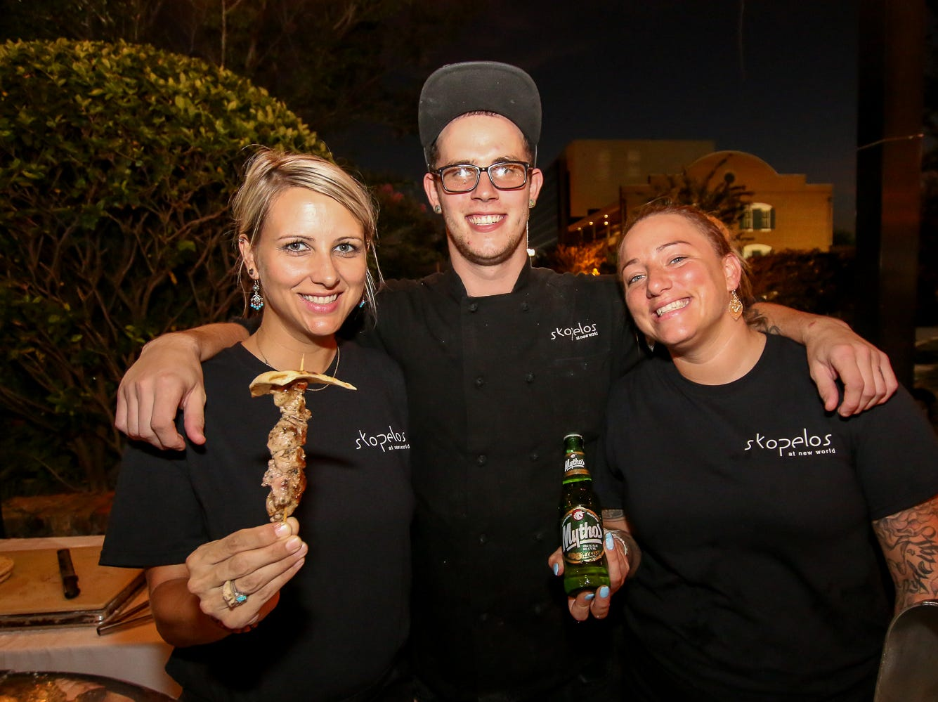 Skopelos at New World offered pork souvlaki and Mythos beer during the Pensacola News Journal's 5th annual Tastemakers restaurant crawl on Saturday, August 25, 2018. The two-night event included about a dozen restaurants that each featured a food and drink item reoresenting a specific country, such as the United States, Mexico, Argentina and more.