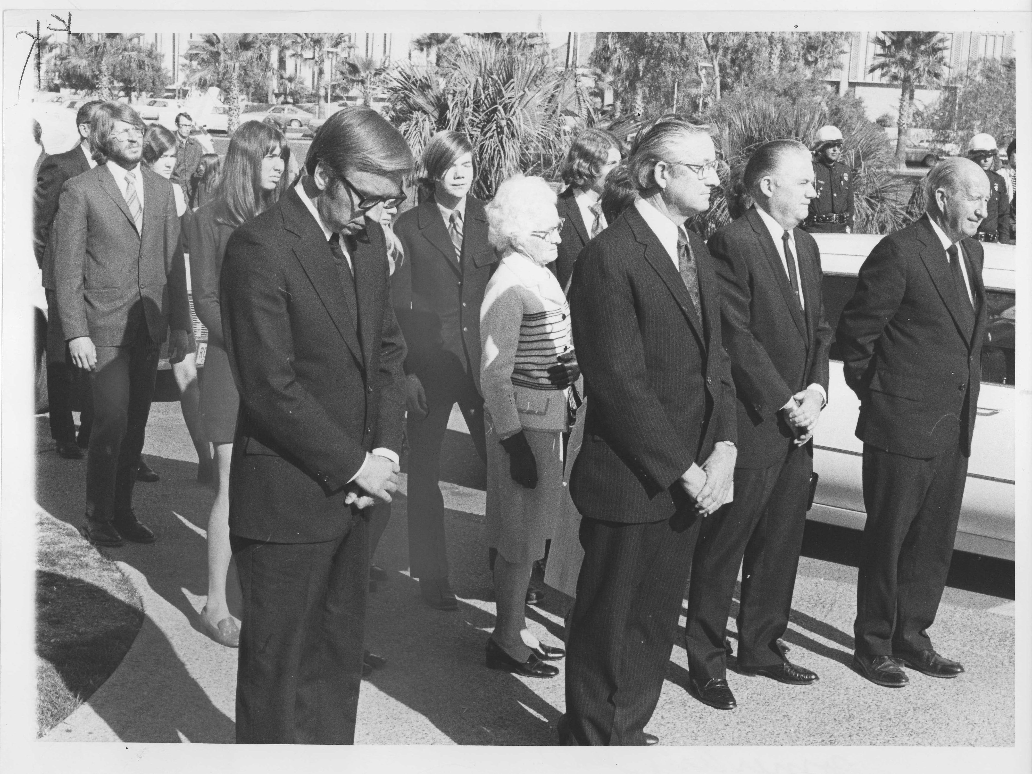 Attendees at former Sen. Carl Hayden's funeral in 1972.