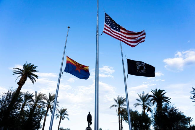 Flags were lowered down at the half post at Arizona State Capitol to honor Sen. John McCain, who endured more than five years as a prisoner of war in Vietnam before becoming the 2008 Republican presidential nominee and serving Arizona for more than 30 years on Capitol Hill. McCain died Aug. 25 at age 81.