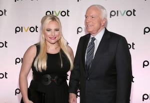 """""""The View"""" co-host Meghan McCain is seen with her father, Sen. John McCain, in a 2013 photo."""